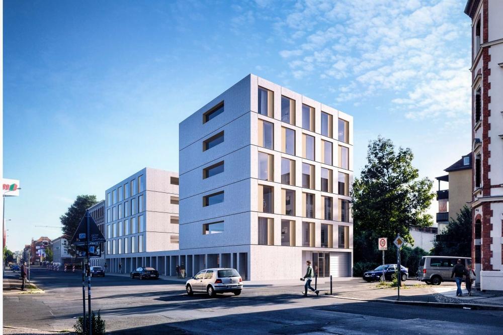 Vorderansicht eines modernen Wohngebäudes an der Gießerstraße