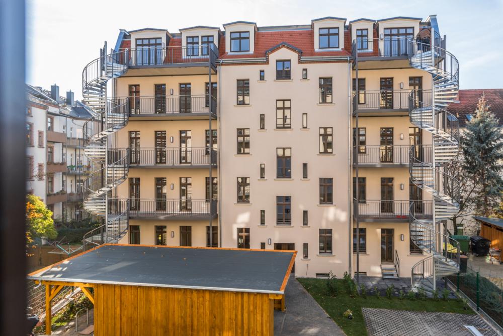 Ansicht der Fassade Apartmenthaus Georg-Schumann-Straße 141